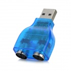 USB 2.0 to Two PS/2 Adapter for Keyboard and Mouse - Translucent Blue