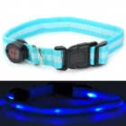 0101 Flashing Nylon Pet Collar for Dogs / Cats - Cyan + White (32cm / 2 x CR2032)