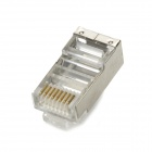 RJ45 Blindaje de red Cable Conectores - plata (10 PCS)
