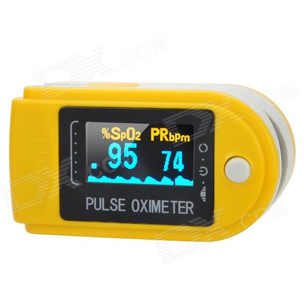 "1.0"" LCD Fingertip Pulse Oximeter SpO2 Monitor - Yellow + White + Black (2 x AAA)"