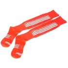 Vertical Stripes Pattern Cotton Football Stockings - Red (Pair)