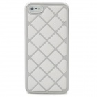 Grid Pattern Protective Leather Coated Aluminum Alloy Matte Back Case for Iphone 5 - White