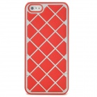 Grid Pattern Protective Leather Coated Aluminum Alloy Matte Back Case for Iphone 5 - Red