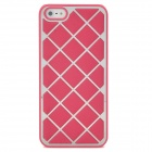 Grid Pattern Protective Leather Coated Aluminum Alloy Matte Back Case for Iphone 5 - Deep Pink