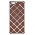 Grid Pattern Protective Leather Coated Aluminum Alloy Matte Back Case for iPhone 5 - Brown