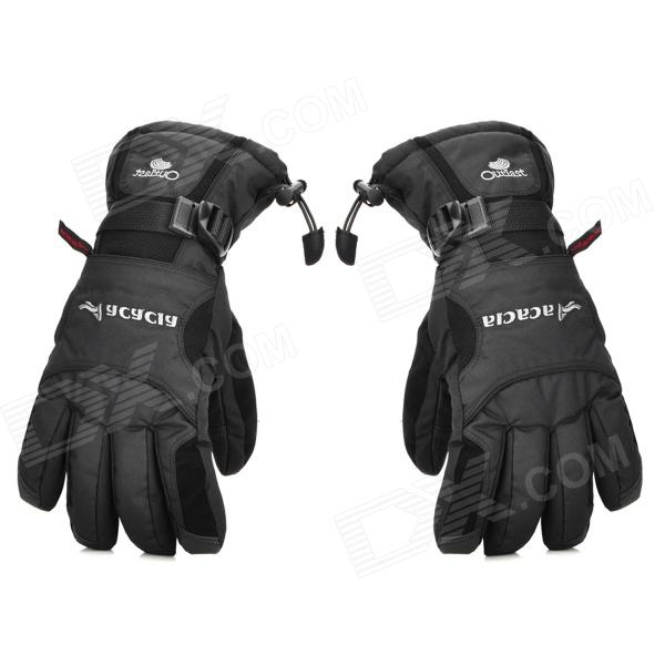 ACACIA 0314902 Outdoor Sports Skiing / Cycling Full Finger Waterproof Warmer Gloves - Black (Size L)