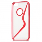 Ultra-thin Transparent Protective Plastic Bumper Frame Back Case w/ Screen Guard for Iphone 5 - Red