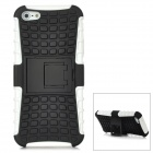 Square Grid Pattern Protective Plastic Back Case w/ Stand for Iphone 5 - White + Black
