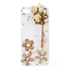 Stylish Cool Pattern Protective Plastic Back Case w/ Rhinestone + Pearl for Iphone 5 - White