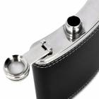 Stainless Steel PU Leather Cover Wine Pot - Black + Silver (200 ML / 7 Ounce)
