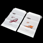 Lover Pattern Travel / Household Shoes Storage Bag - White + Orange + Wine Red (2 PCS)