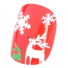 Christmas Deer Snowflake Style Nail Art Decorative Artificial Nail Tips - Red (12 PCS)