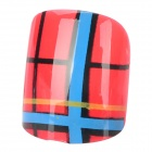 French Style 24-in-1 Colorful Short Nails Set - Red + Blue