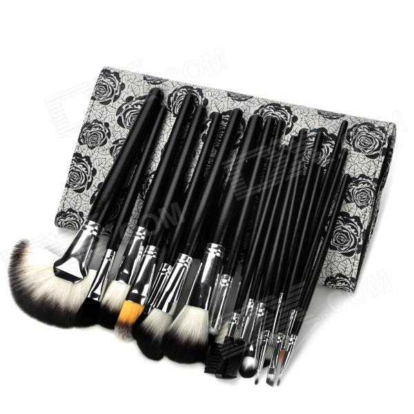 Professional 18-in-1 Cosmetic Makeup Brushes Set w/ Rose Pattern Case - Black high quality 18pcs set cosmetic makeup brush foundation powder eyeliner professional brushes tool with roll up leather case