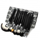 Professionelle 18-in-1 Cosmetic Make-up Pinsel Set w / Rose Pattern Case - Schwarz