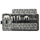 Professional 18-in-1 Cosmetic Makeup Brushes Set w/ Rose Pattern Case - Black