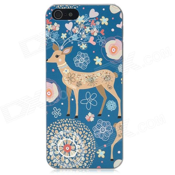 XK-COOKU XK5-003 Protective Embossed Christmas Deer Back Case for iPhone 5 - Blue