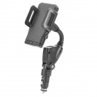 Universal 2-in-1 360 Degree Rotation Car Mount Holder for iPhone / iPad + More - Black (Dual USB)