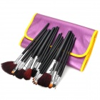 Professional 16-in-1 Cosmetic Makeup Brushes Set w/ PU Leather Bag - Purple + Silver