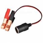 Car Battery Clip to Cigarette Lighter Socket Adapter - Black + Red
