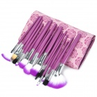 Makeup Brushes Set w/ Rose Pattern Carrying Bag - Purple (18 PCS)