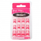 BZ2025 Français Style Nail Art Contemporain artificiels Ongles - Rouge + Blanc (24 PCS)