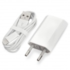 8-Pin Lightning Male to USB Male Cable + 2-Round-Pin Plug Power Adapter Set for iPhone 5 - White