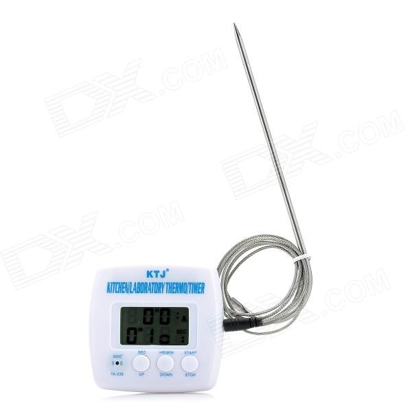 "1.6"" LCD Digital Display Thermometer / Timer / Alarm w/ Cable - White"
