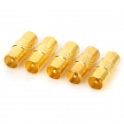 Gold Plated TV Male to Male Adapter - Golden (5 PCS)