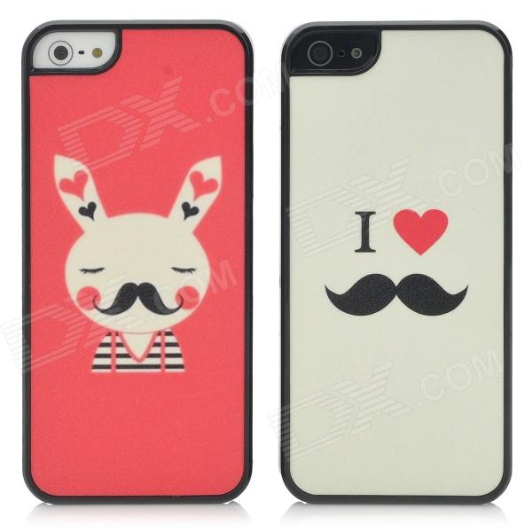 Cute Love & Rabbit Pattern Protective Plastic Matte Back Case for Iphone 5 - Black + Beige + Red