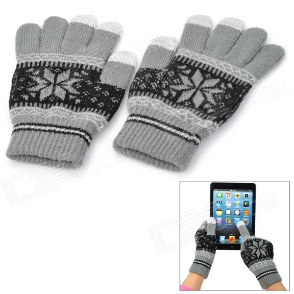купить Snowflake Pattern Yarn Thicken Full-Finger Gloves for Touch Screen Device - Grey + Black (Pair) дешево