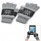 Snowflake Pattern Yarn Thicken Full-Finger Gloves for Touch Screen Device - Grey + Black (Pair)