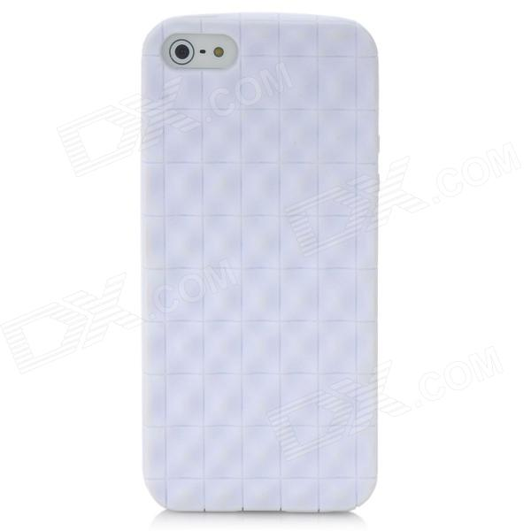 Protective Wave Check Pattern TPU Back Case for Iphone 5 - White