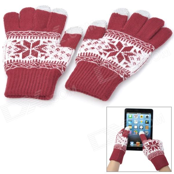 Snowflake Pattern Yarn Thicken Full-Finger Gloves for Touch Screen Device - Red + White (Pair)