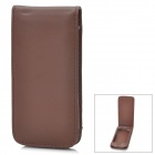 Protective PU Leather Top Flip-Open Case w/ Magic Buckle for iPhone 5 - Brown
