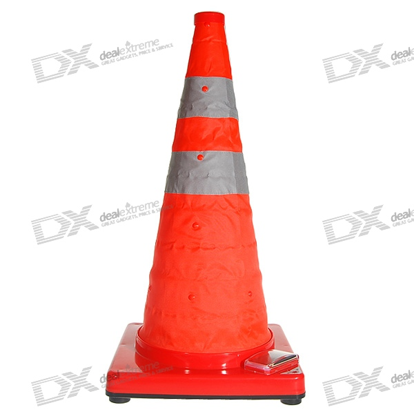 Solar Powered Self-Recharge Waterproof 3-LED Road-Side Safety Warning Traffic Cone