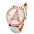 62285 Eiffel Tower Style Lady's PU Band Quartz Wrist Watch - White + Rose Gold (1 x 377)