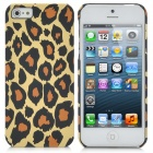 Leopard Grain Pattern Protective Plastic Back Case for iPhone 5 - Ivory + Chocolate + Black