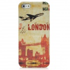 Protective Airplane London Plastic Back Case w/ Screen Guard for iPhone 5 - Red + Light Yellow