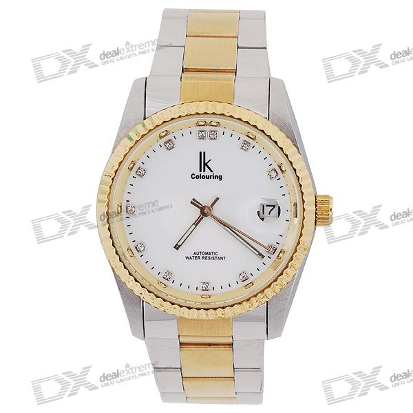 Stylish Crystals Stainless Steel Self-Winding Mechanical Wrist Watch