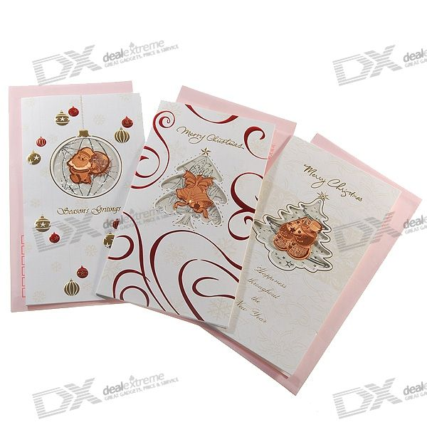 Christmas Holiday Cards with Envelopes (Assorted 3-Pack)