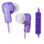 MOSIDUN Stylish Flat Cable In-Ear Earphone w/ Microphone for Iphone / Ipad / HTC / Samsung - Purple