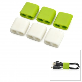 CC-923 Cable Cord Wire Holder Wire Winders Organizers - Green + White (6 PCS)
