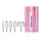 SWPKPOWER SW-B4467 Portable External 5200mAh Emergency Mobile Power Bank w / Adapter - Pink
