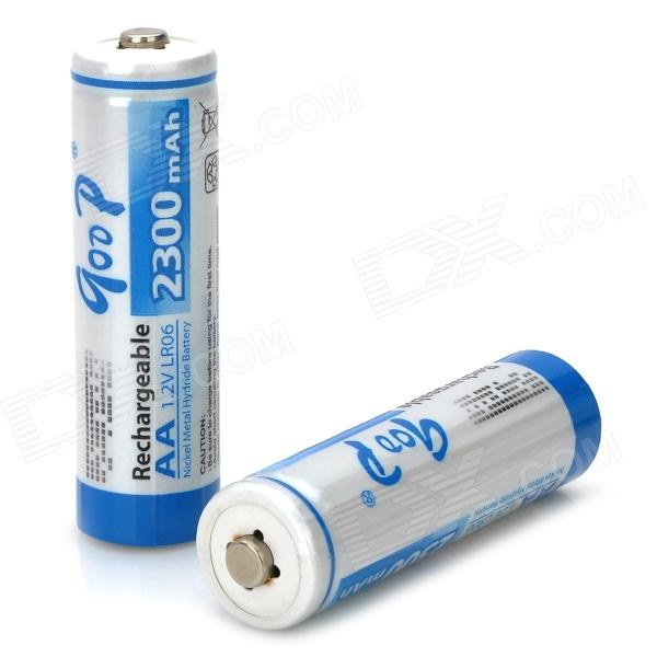 GD-AA-2B-4 High Capacity 1.2V 2300mAh AA NiMH Rechargeable Batteries - White + Blue (2 PCS) аккумулятор energizer aa hr6 2300mah 4шт