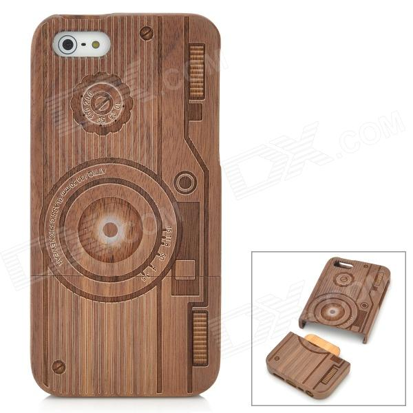 Protective Carving Camera Pattern Wooden Back Case for Iphone 5 - Dark Coffee