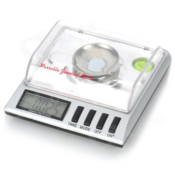 Mini Portable 1.8 LCD Precision Digital Pocket Scale - Black + Silver (30g Max / 0.001g Resolution) compact portable 2 0 lcd digital personal body weight scale 2 aaa 0 3 150kg