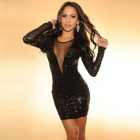 Sexy Tight Fashion Sleeveless Deep V Collar Hollow-Out Sequin Lace Short Dress - Black (Size M)
