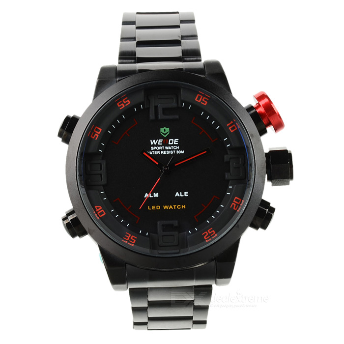 WEIDE WH2309 Sport Stainless Steel Quartz Analog + Digital Wrist Watch w/ Calendar + Alarm - Black стоимость