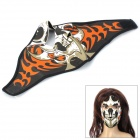 Outdoor Sports Skull Pattern Diving Cloth Full Face Mask w/ Magic Tape - Black + White+ Orange